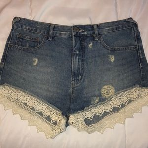 Free People Jean Lace Shorts